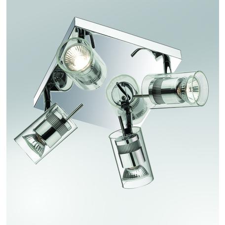 Потолочная люстра с регулировкой направления света Odeon Light Yang 2474/4C, 4xGU10x50W, хром, прозрачный, металл, стекло