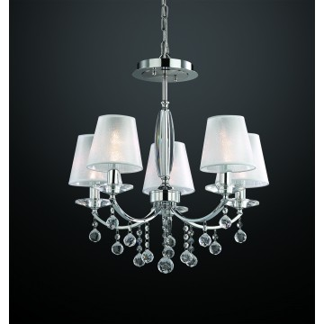 Потолочно-подвесная люстра Odeon Light Kvinta 2274/5, 5xE14x40W, прозрачный, хром, белый, металл, стекло, текстиль, хрусталь