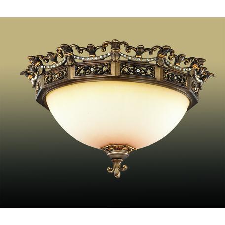 Потолочный светильник Odeon Light Varza 2430/3C, 3xE27x60W, бронза, прозрачный, белый, металл, хрусталь, стекло