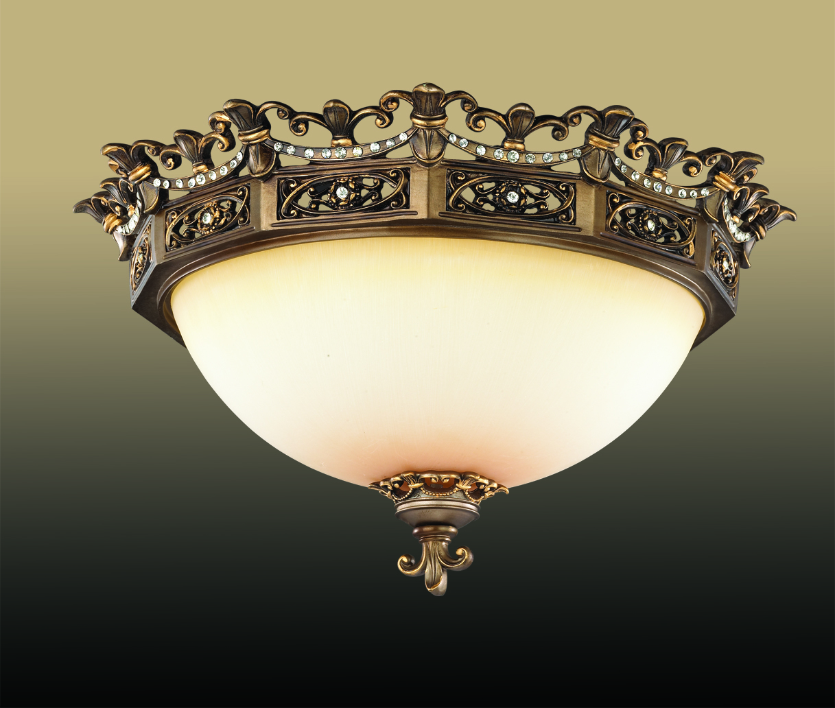 Потолочный светильник Odeon Light Varza 2430/3C, 3xE27x60W, бронза, прозрачный, белый, металл, хрусталь, стекло - фото 1