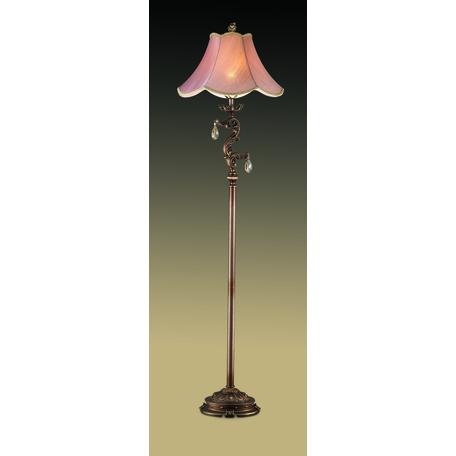 Торшер Odeon Light Varza 2430/1F, 1xE27x60W, бронза, прозрачный, коричневый, металл, хрусталь, текстиль