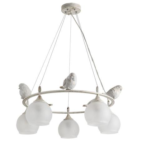 Подвесная люстра Arte Lamp Gemelli A2150SP-5WG, 5xE27x60W, белый с золотой патиной, белый, металл, стекло