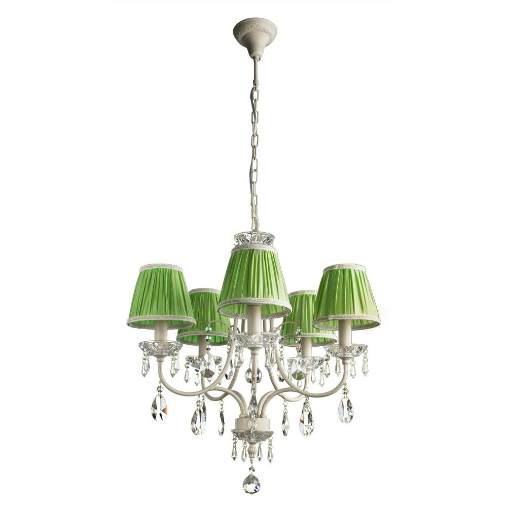 Arte Lamp Veil A3082LM-5WG, 5xE14x60W, бежевый, зеленый, прозрачный, металл, текстиль, хрусталь - фото 1