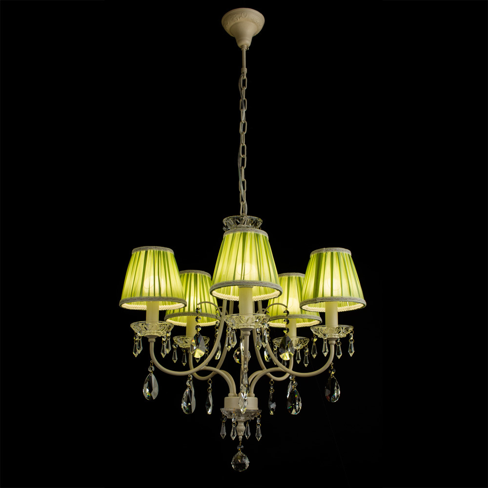 Arte Lamp Veil A3082LM-5WG, 5xE14x60W, бежевый, зеленый, прозрачный, металл, текстиль, хрусталь - фото 2