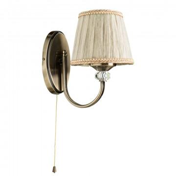 Бра Arte Lamp Sylvia A1180AP-1AB, 1xE14x40W, бронза, бежевый, металл, текстиль