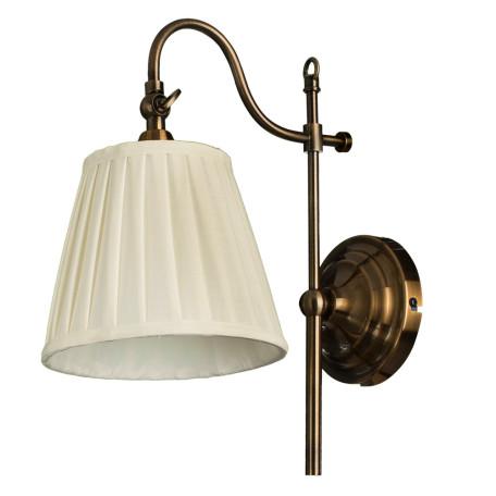 Бра Arte Lamp Seville A1509AP-1PB, 1xE14x40W, медь, белый, металл, текстиль