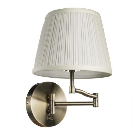 Бра Arte Lamp California A2872AP-1AB, 1xE27x60W, бронза, бежевый, металл, текстиль