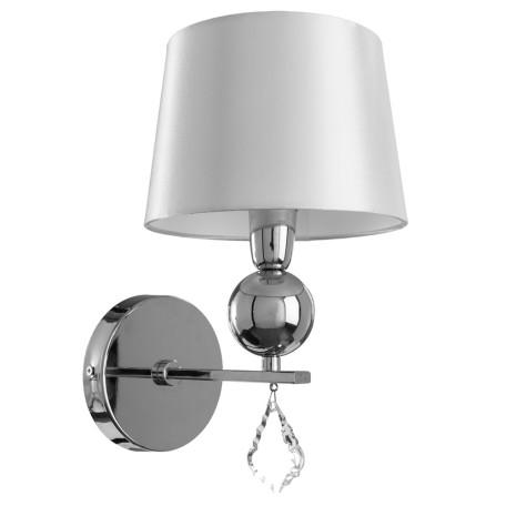 Бра Arte Lamp Promessa A3074AP-1CC, 1xE14x40W, хром, бежевый, прозрачный, металл, текстиль, хрусталь
