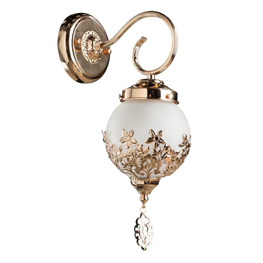 Бра Arte Lamp Moroccana A4552AP-1GO, 1xE27x60W, золото, металл, стекло - фото 1