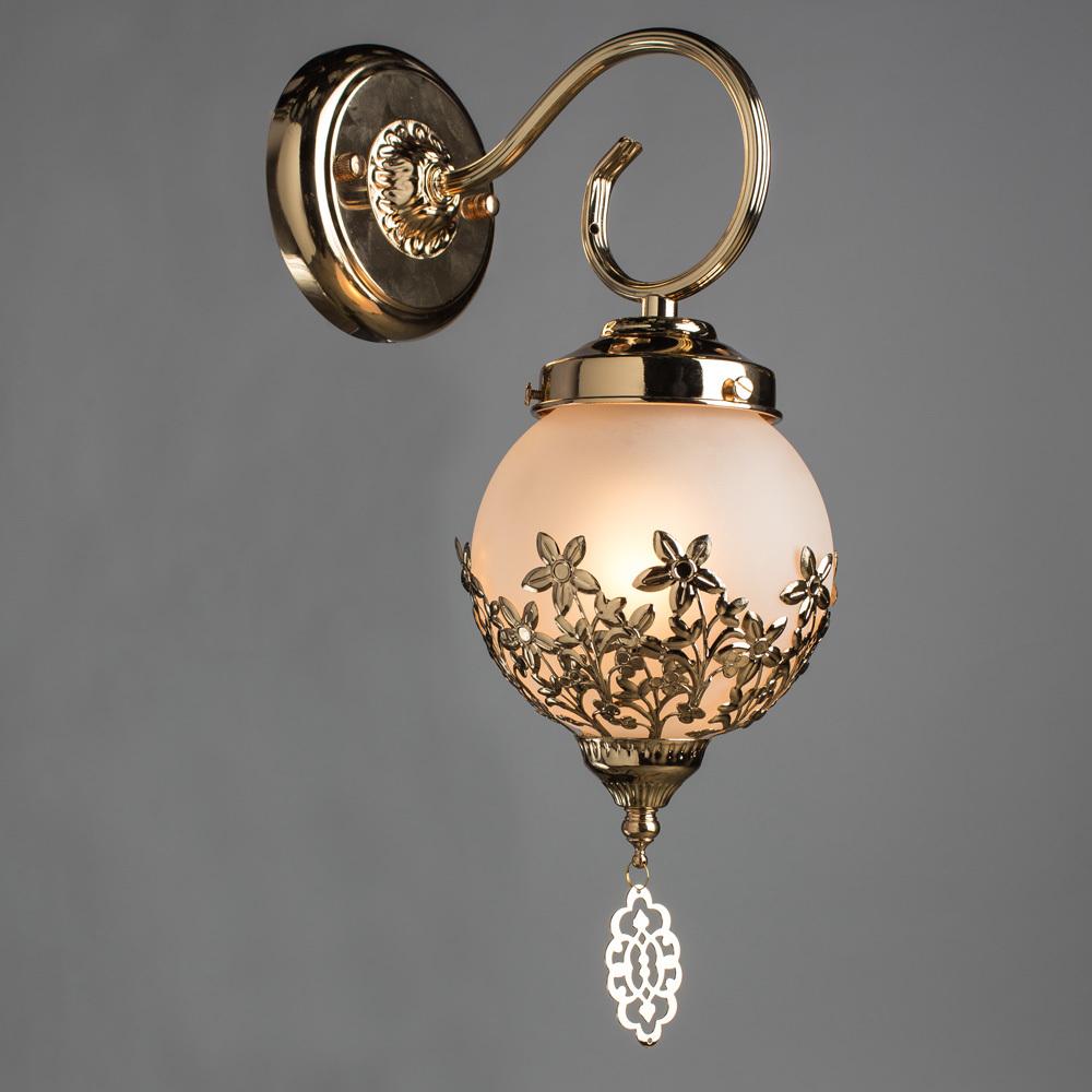 Бра Arte Lamp Moroccana A4552AP-1GO, 1xE27x60W, золото, металл, стекло - фото 2