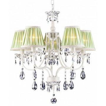 Arte Lamp Veil A3082LM-5WG, 5xE14x60W, бежевый, зеленый, прозрачный, металл, текстиль, хрусталь