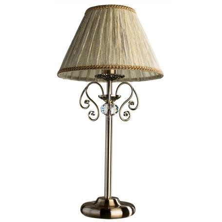 Настольная лампа Arte Lamp Charm A2083LT-1AB, 1xE27x60W, бронза, бежевый, металл с хрусталем, текстиль