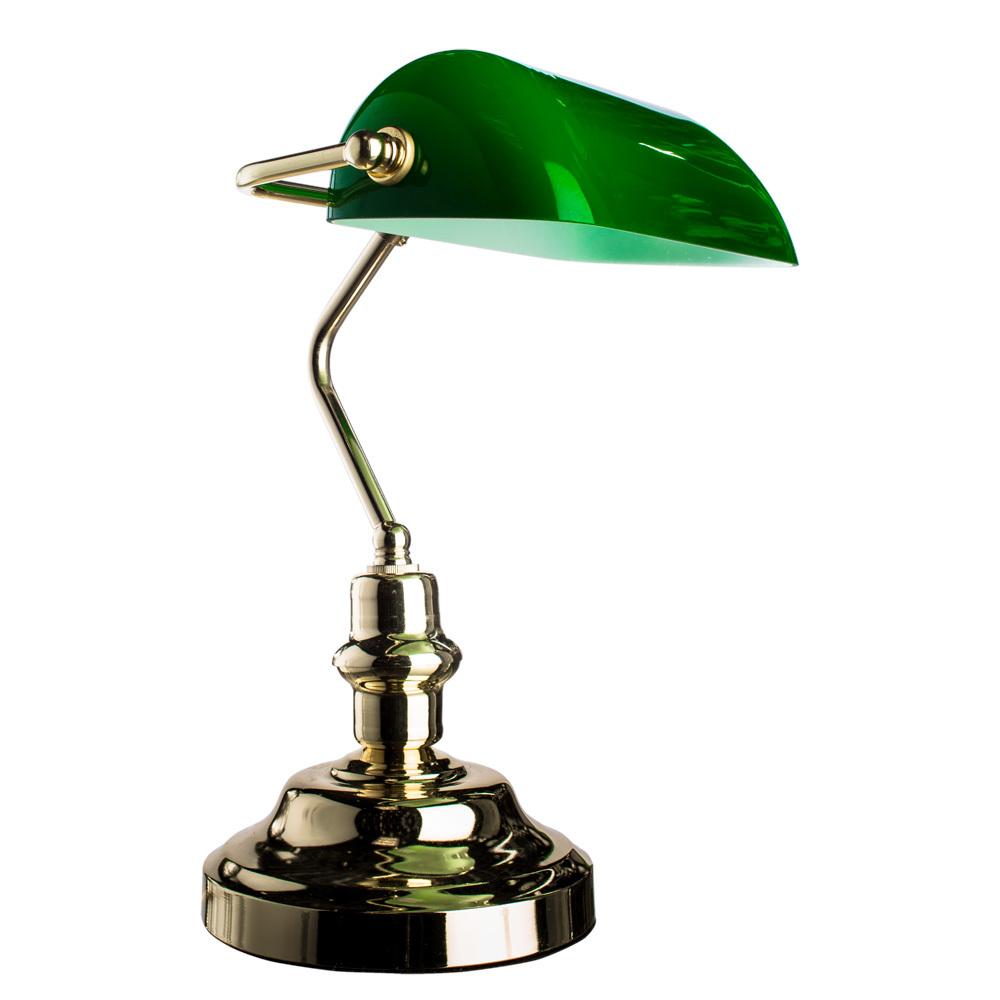 Настольная лампа Arte Lamp Banker A2491LT-1GO, 1xE27x60W, золото, зеленый, металл, стекло - фото 1