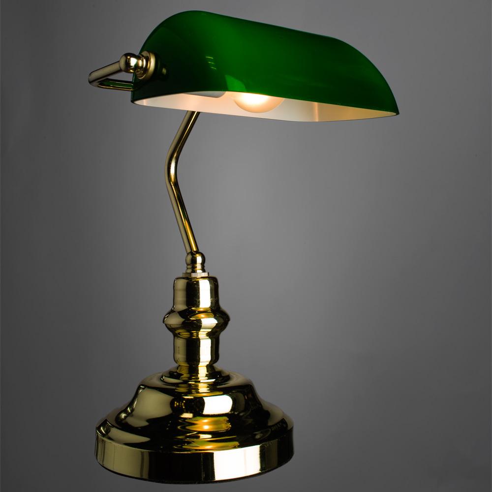 Настольная лампа Arte Lamp Banker A2491LT-1GO, 1xE27x60W, золото, зеленый, металл, стекло - фото 2