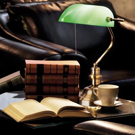 Настольная лампа Arte Lamp Banker A2491LT-1GO, 1xE27x60W, золото, зеленый, металл, стекло - миниатюра 3