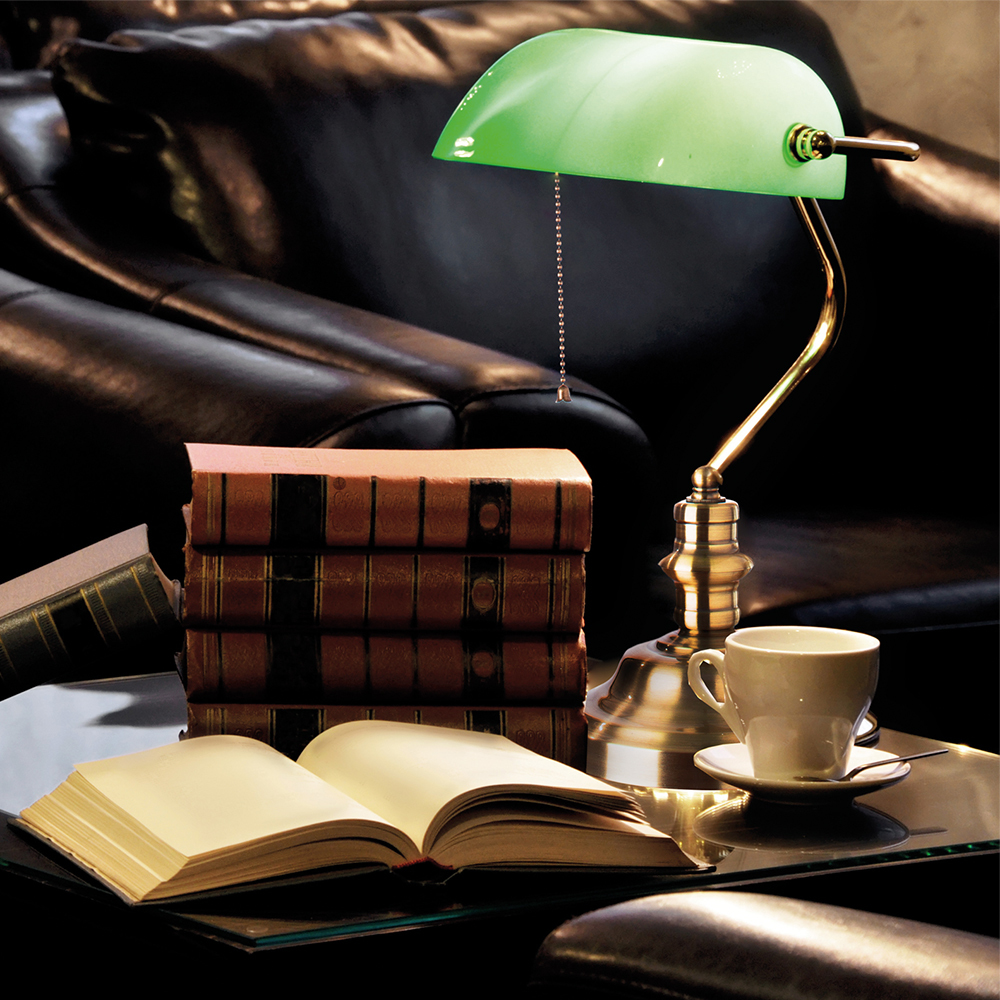 Настольная лампа Arte Lamp Banker A2491LT-1GO, 1xE27x60W, золото, зеленый, металл, стекло - фото 3
