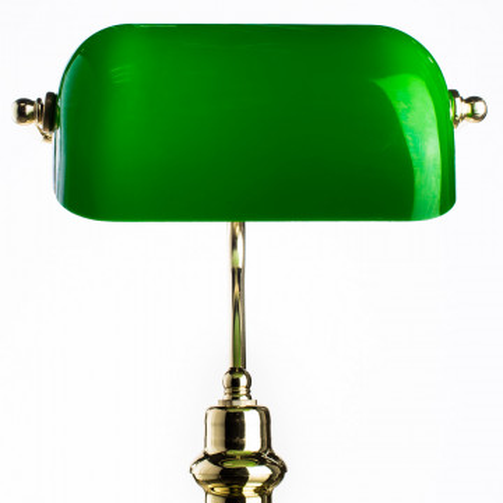 Настольная лампа Arte Lamp Banker A2491LT-1GO, 1xE27x60W, золото, зеленый, металл, стекло - миниатюра 4