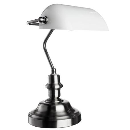Настольная лампа Arte Lamp Banker A2491LT-1SS, 1xE27x60W, серебро, белый, металл, стекло