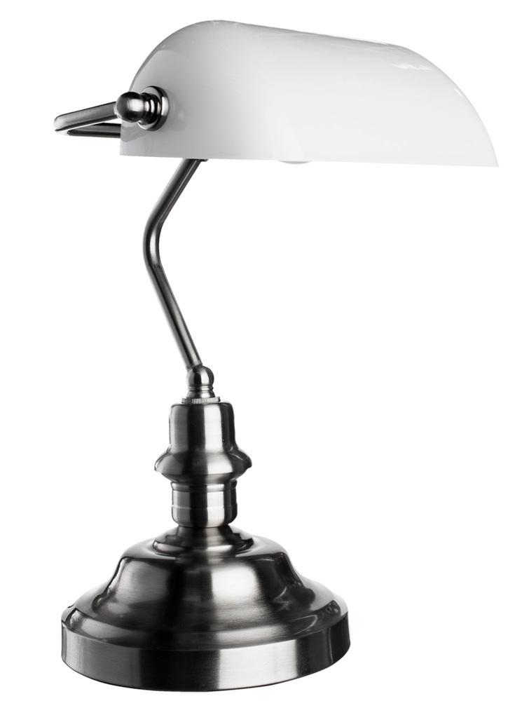 Настольная лампа Arte Lamp Banker A2491LT-1SS, 1xE27x60W, серебро, белый, металл, стекло - фото 1