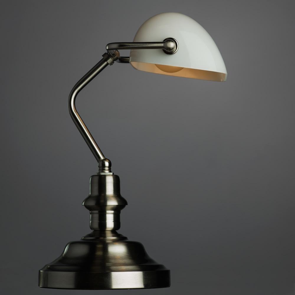 Настольная лампа Arte Lamp Banker A2491LT-1SS, 1xE27x60W, серебро, белый, металл, стекло - фото 2