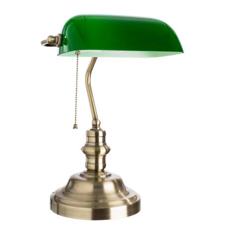 Настольная лампа Arte Lamp Banker A2492LT-1AB, 1xE27x60W, бронза, зеленый, металл, стекло