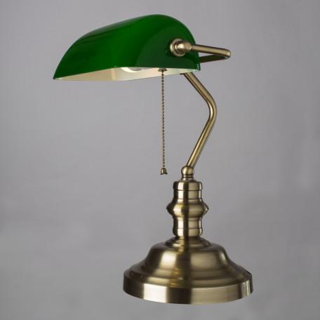Настольная лампа Arte Lamp Banker A2492LT-1AB, 1xE27x60W, бронза, зеленый, металл, стекло - миниатюра 2