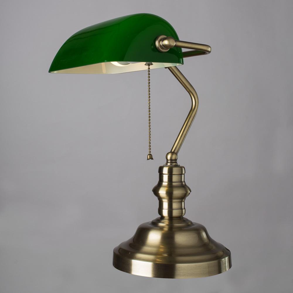Настольная лампа Arte Lamp Banker A2492LT-1AB, 1xE27x60W, бронза, зеленый, металл, стекло - фото 2