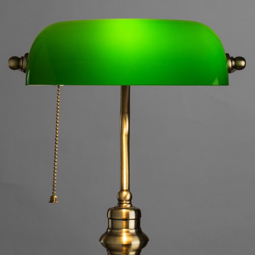 Настольная лампа Arte Lamp Banker A2492LT-1AB, 1xE27x60W, бронза, зеленый, металл, стекло - фото 3