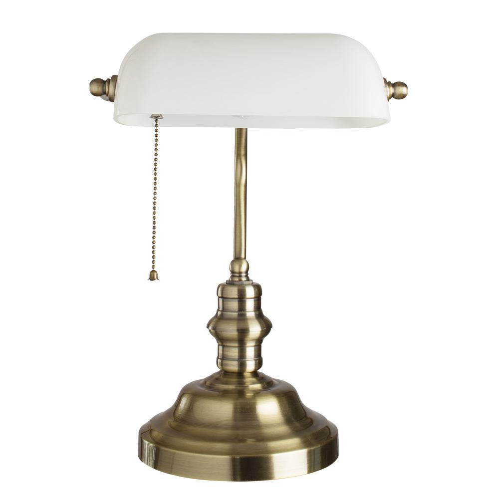 Настольная лампа Arte Lamp Banker A2493LT-1AB, 1xE27x60W, бронза, белый, металл, стекло - фото 1
