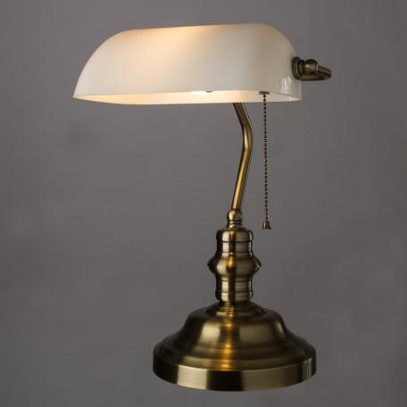 Настольная лампа Arte Lamp Banker A2493LT-1AB, 1xE27x60W, бронза, белый, металл, стекло - миниатюра 2