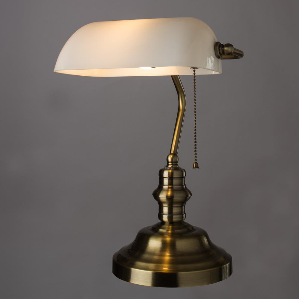 Настольная лампа Arte Lamp Banker A2493LT-1AB, 1xE27x60W, бронза, белый, металл, стекло - фото 2