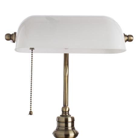 Настольная лампа Arte Lamp Banker A2493LT-1AB, 1xE27x60W, бронза, белый, металл, стекло - миниатюра 3