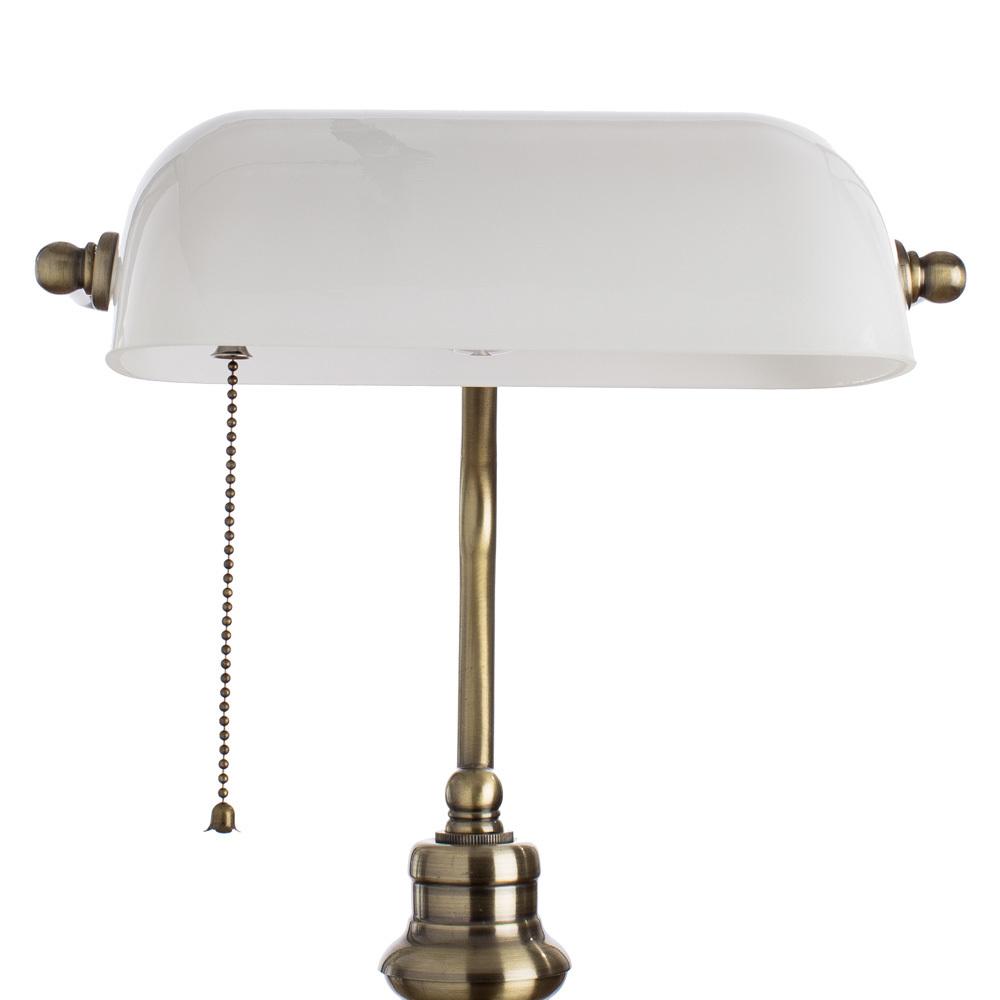 Настольная лампа Arte Lamp Banker A2493LT-1AB, 1xE27x60W, бронза, белый, металл, стекло - фото 3
