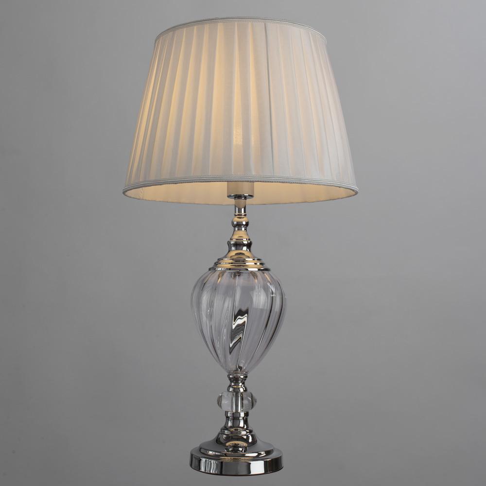 Настольная лампа Arte Lamp Superb A3752LT-1WH, 1xE27x60W, прозрачный, хром, белый, стекло, текстиль - фото 2