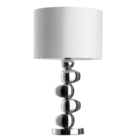 Настольная лампа Arte Lamp Marriot A4610LT-1CC, 1xE27x60W, хром, белый, металл, текстиль - миниатюра 1