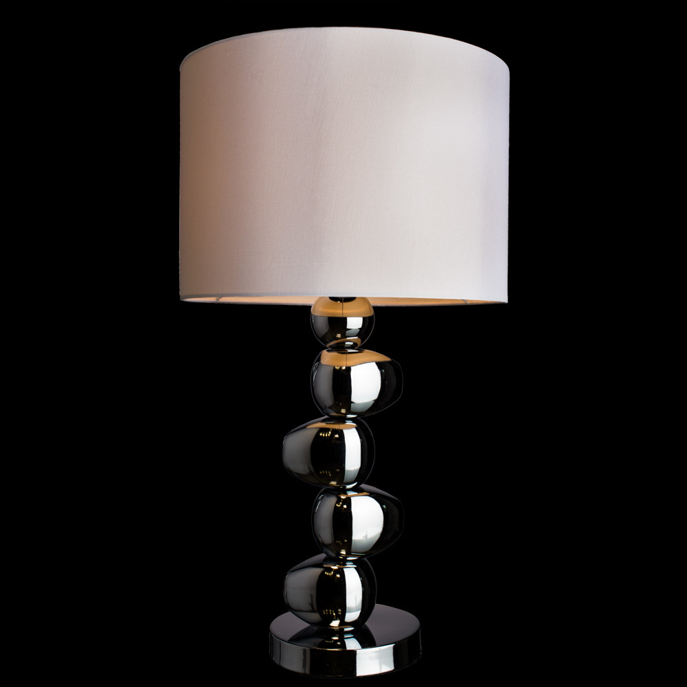 Настольная лампа Arte Lamp Marriot A4610LT-1CC, 1xE27x60W, хром, белый, металл, текстиль - фото 2