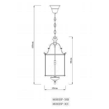 Схема с размерами Arte Lamp A6503SP-3AB