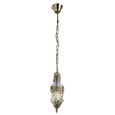 Подвесной светильник Arte Lamp Brocca A9147SP-1AB, 1xE14x40W, бронза, прозрачный, металл, стекло - миниатюра 1