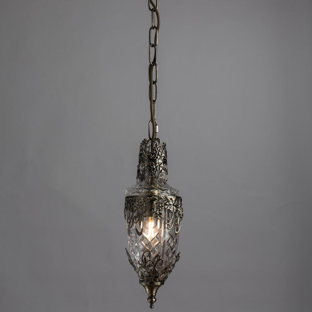 Подвесной светильник Arte Lamp Brocca A9147SP-1AB, 1xE14x40W, бронза, прозрачный, металл, стекло - фото 2