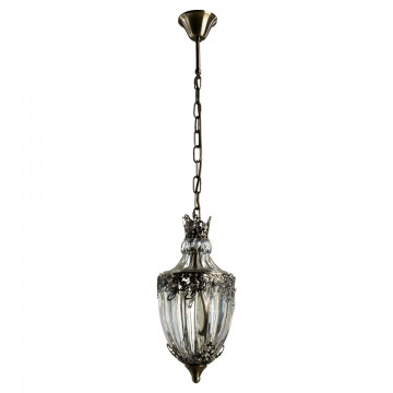 Подвесной светильник Arte Lamp Brocca A9149SP-1AB, 1xE14x40W, бронза, прозрачный, металл, стекло