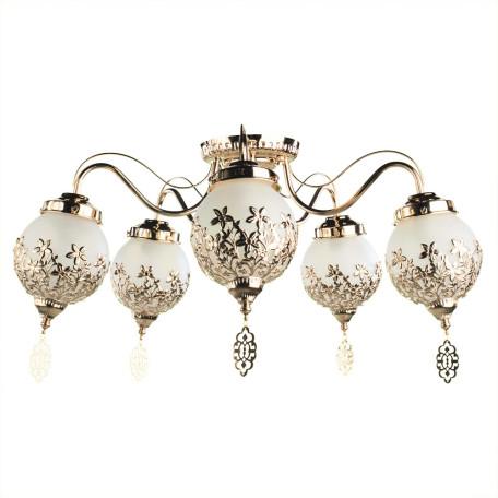 Потолочная люстра Arte Lamp Moroccana A4552PL-5GO, 5xE27x60W, золото, белый, металл, стекло
