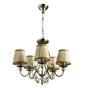 Потолочно-подвесная люстра Arte Lamp Charm A2083LM-5AB, 5xE14x60W, бронза, бежевый, металл со стеклом/хрусталем, текстиль