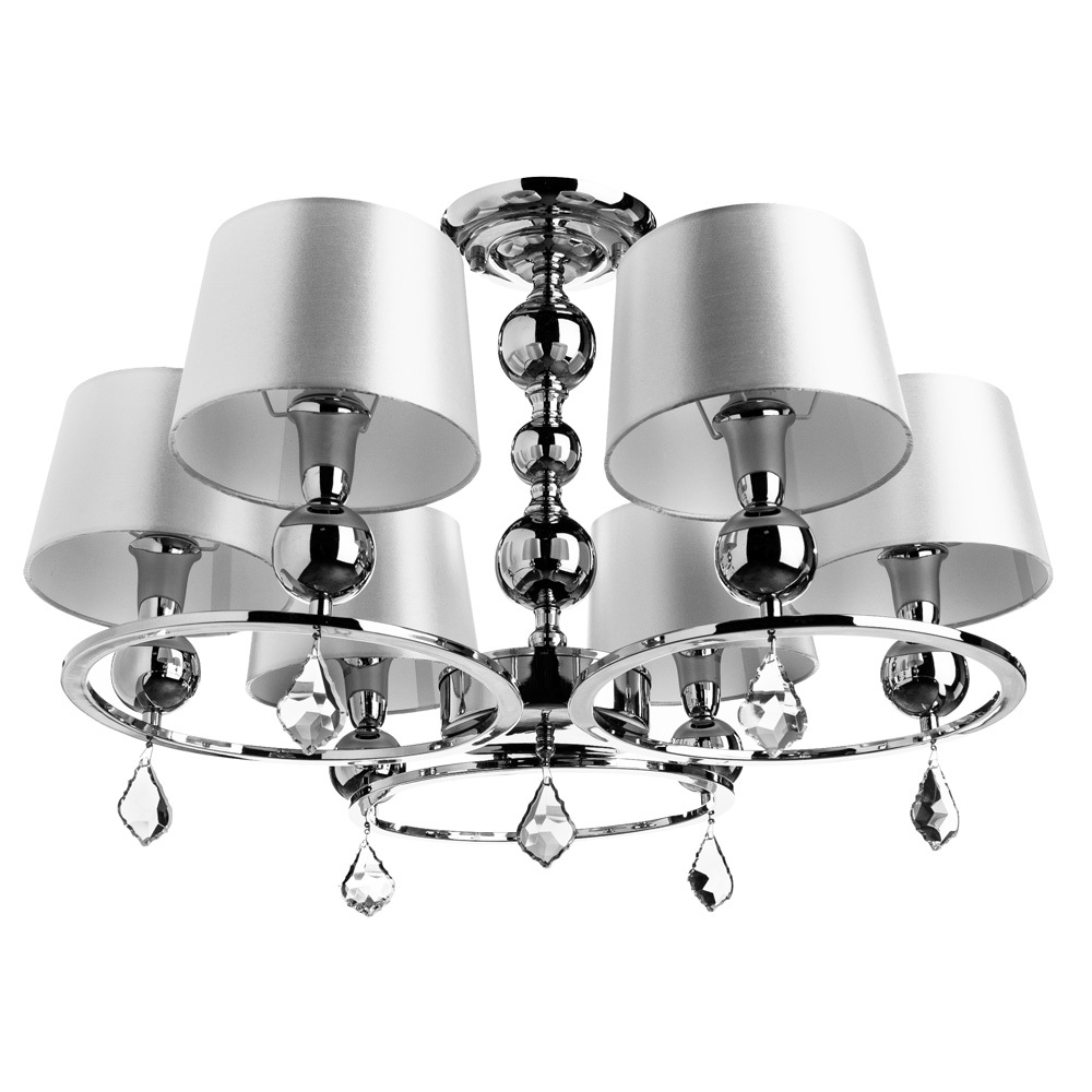 Потолочно-подвесная люстра Arte Lamp Promessa A3074LM-6CC, 6xE14x40W, хром, бежевый, прозрачный, металл, текстиль, хрусталь - фото 1