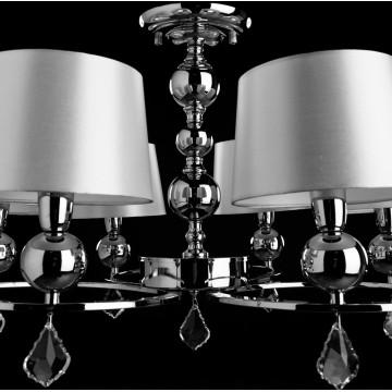 Потолочно-подвесная люстра Arte Lamp Promessa A3074LM-6CC, 6xE14x40W, хром, бежевый, прозрачный, металл, текстиль, хрусталь - миниатюра 4