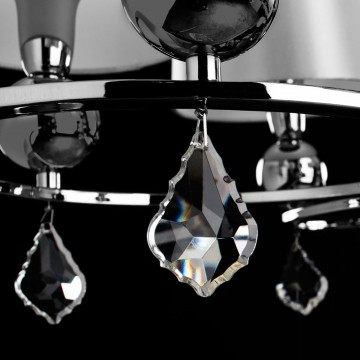 Потолочно-подвесная люстра Arte Lamp Promessa A3074LM-6CC, 6xE14x40W, хром, бежевый, прозрачный, металл, текстиль, хрусталь - миниатюра 5