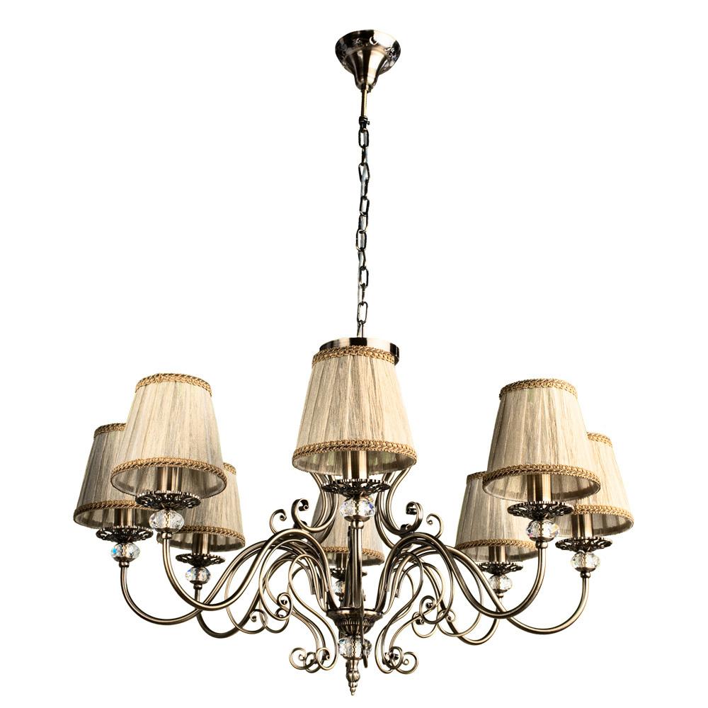 Потолочно-подвесная люстра Arte Lamp Charm A2083LM-8AB, 8xE14x60W, бронза, бежевый, металл с хрусталем, текстиль - фото 1