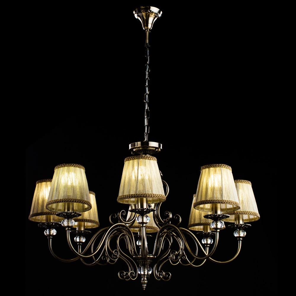 Потолочно-подвесная люстра Arte Lamp Charm A2083LM-8AB, 8xE14x60W, бронза, бежевый, металл с хрусталем, текстиль - фото 2