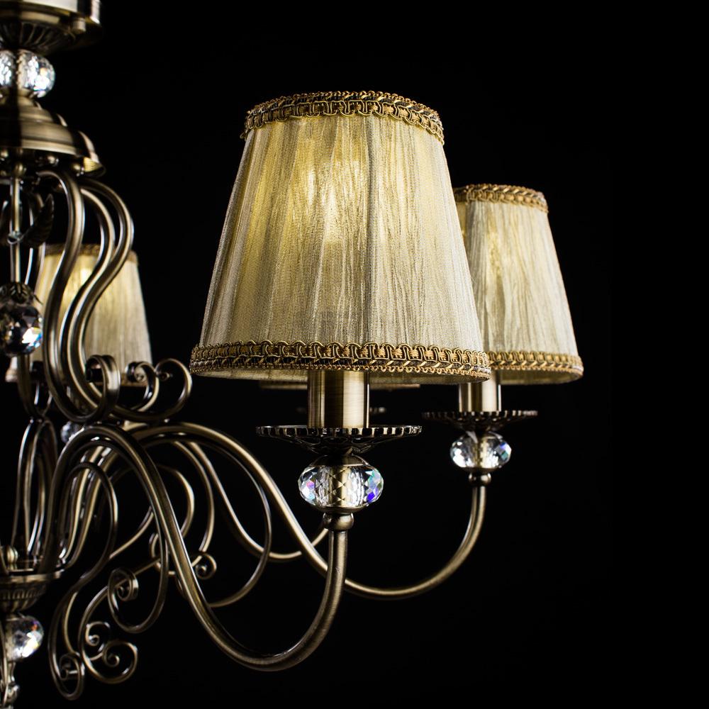 Потолочно-подвесная люстра Arte Lamp Charm A2083LM-8AB, 8xE14x60W, бронза, бежевый, металл с хрусталем, текстиль - фото 4
