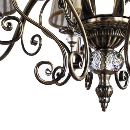 Потолочно-подвесная люстра Arte Lamp Charm A2083LM-8AB, 8xE14x60W, бронза, бежевый, металл с хрусталем, текстиль - миниатюра 5