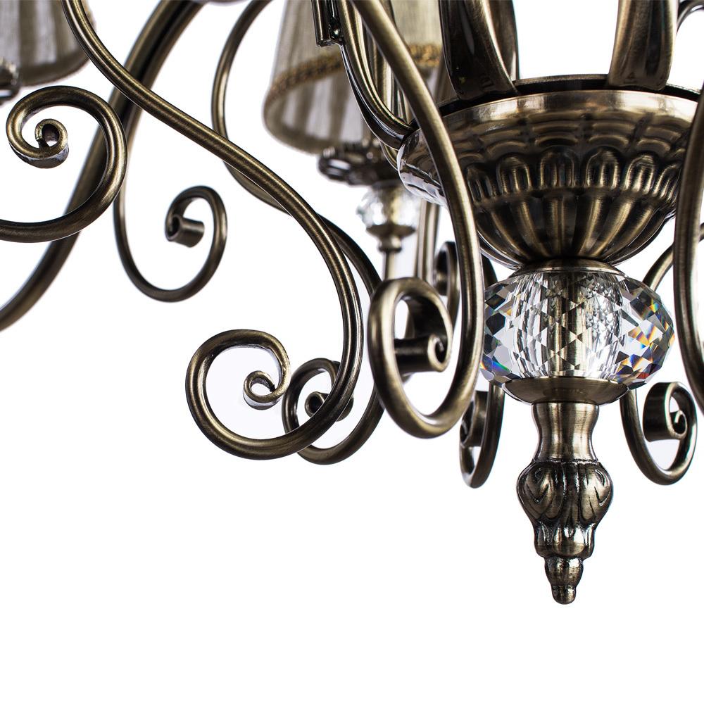 Потолочно-подвесная люстра Arte Lamp Charm A2083LM-8AB, 8xE14x60W, бронза, бежевый, металл с хрусталем, текстиль - фото 5
